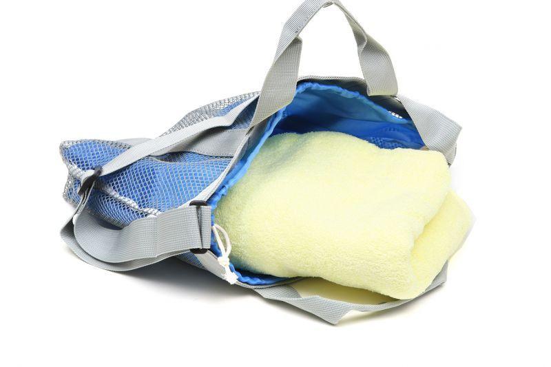 スイミングトートバッグ 外側メッシュ 内側巾着 無地ブルー