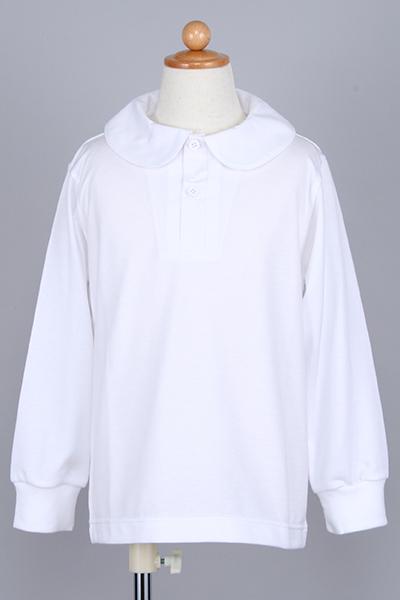丸衿長袖ポロシャツ