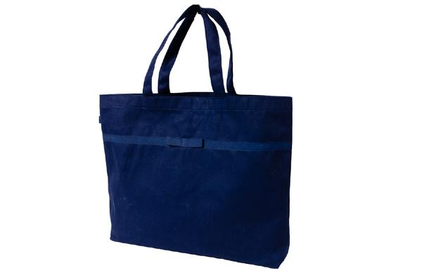 リボン付き 紺色布製 レッスンバッグ【大】