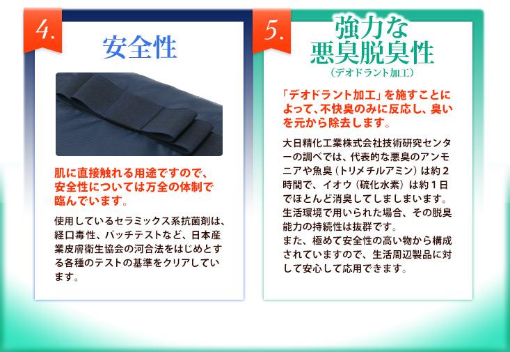 4.安全性 5.強力な悪臭脱臭性(デオドラント加工)