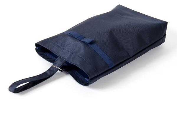 【リボン付き】紺色ナイロン製:お子様用シューズバッグ タイプB
