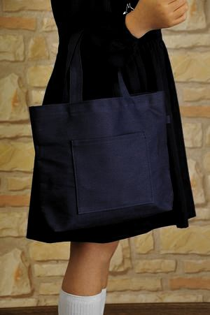 縦紺色布製レッスンバッグ【中】