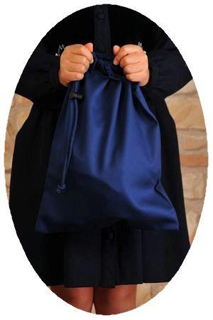 紺色無地お着替え入れ巾着袋【中】
