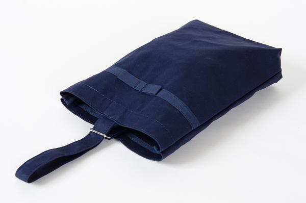 【リボン付き】紺色布製:お子様シューズバッグ