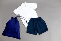 丸首シャツ&紺色パンツ上下セット