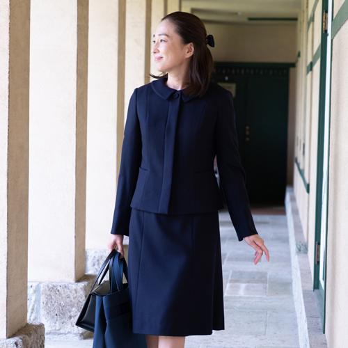 プリンセスラインワンピース 替え襟付 & ノーカラージャケット 濃紺